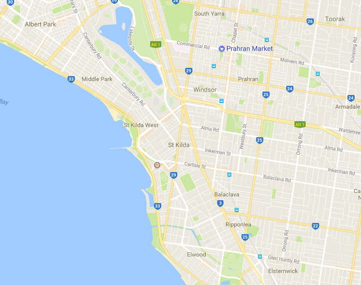 Map of the Services Area - Inner South East Suburbs of Melbourne